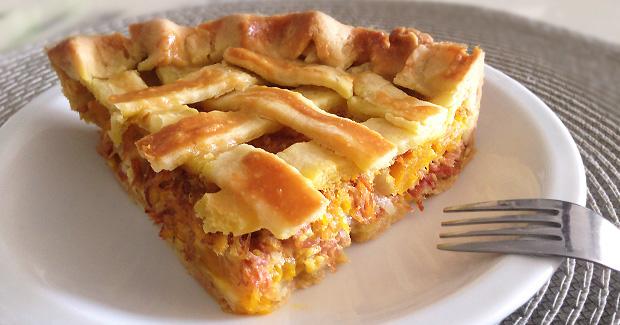 Prepare uma deliciosa torta de carne seca com abóbora