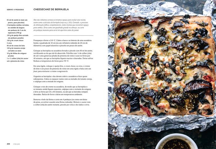 Reprodução do livro com a receita do Cheesecake de Berinjela